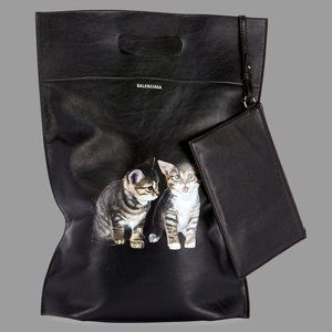 Balenciaga Leather Shopper Tote Bag with Kittens